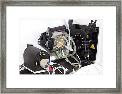 Mass Spectrometer Sample Injector Framed Print by Crown Copyright/health & Safety Laboratory Science Photo Library