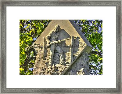 Massachusetts At Gettysburg 1st Mass. Volunteer Infantry Skirmishers Close 1 Steinwehr Ave Autumn Framed Print