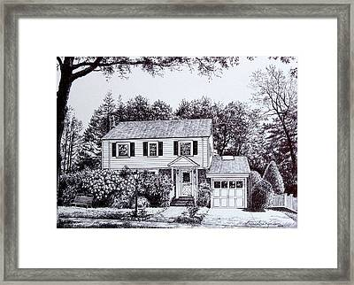 Massachusetts House Drawing Framed Print