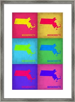 Massachusetts Pop Art Map 1 Framed Print by Naxart Studio
