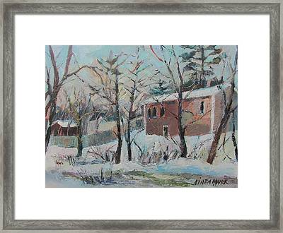 Framed Print featuring the painting Massachusetts Snowfall by Linda Novick
