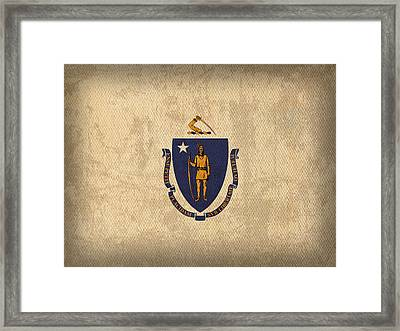 Massachusetts State Flag Art On Worn Canvas Framed Print by Design Turnpike