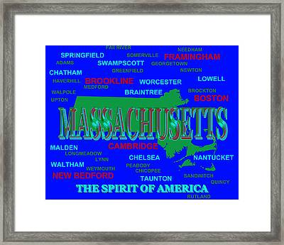 Massachusetts State Pride Map Silhouette  Framed Print