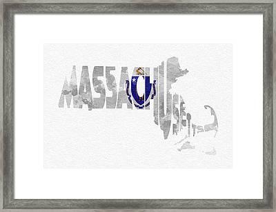 Massachusetts Typographic Map Flag Framed Print