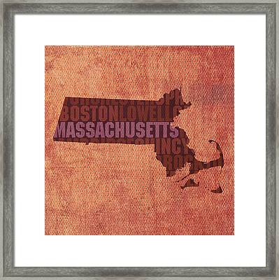 Massachusetts Word Art State Map On Canvas Framed Print by Design Turnpike
