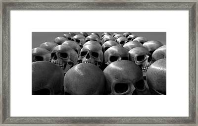Massacre Of Skulls Framed Print by Allan Swart