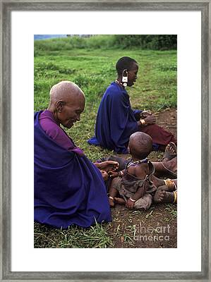 Massai Women And Child - Tanzania Framed Print