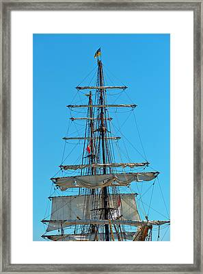 Mast And Ropes Framed Print by Marek Poplawski