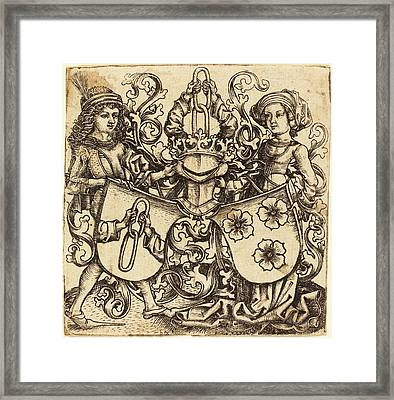 Master Bg German, Active C. 1470-1490, Arms Of Rohrbach Framed Print by Quint Lox