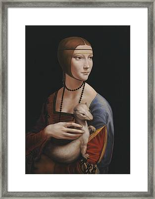 Master Copy Of Da Vinci Lady With An Ermine Framed Print by Terry Guyer