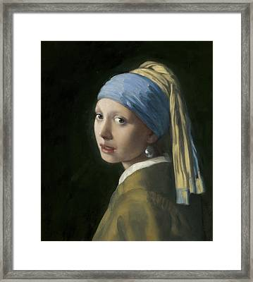 Master Copy Of Vermeer Girl With A Pearl Earring Framed Print by Terry Guyer