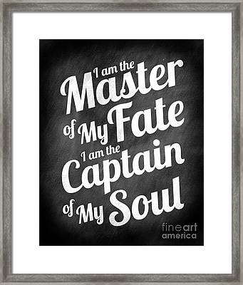 Master Of My Fate - Chalkboard Style Framed Print by Ginny Gaura