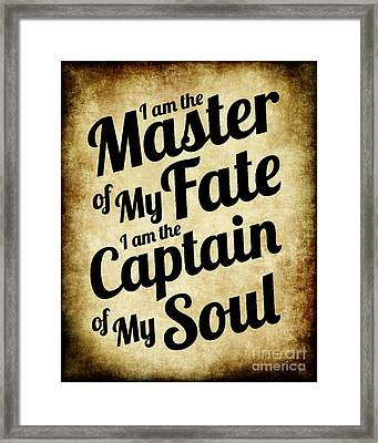 Master Of My Fate - Old Parchment Style Framed Print by Ginny Gaura