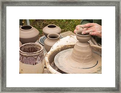 Master Potter Shaping Clay Framed Print by Dancasan Photography
