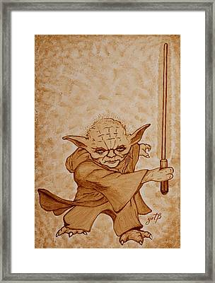 Framed Print featuring the painting Master Yoda Jedi Fight Beer Painting by Georgeta  Blanaru