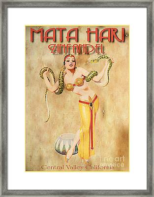 Mata Hari Vintage Wine Ad Framed Print by Cinema Photography