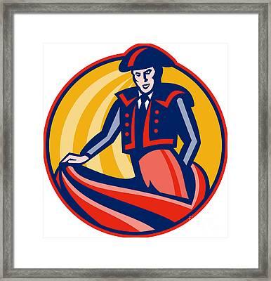 Matador Bullfighter Cape Retro Framed Print by Aloysius Patrimonio