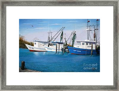 Framed Print featuring the painting Matagorda Boats by Jimmie Bartlett