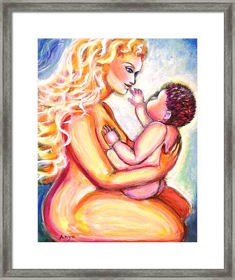 Framed Print featuring the painting Maternal Bliss by Anya Heller