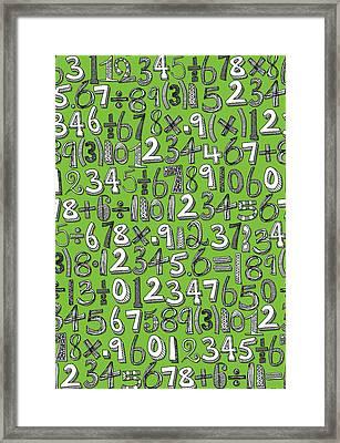 Math Doodle Green Framed Print by Sharon Turner