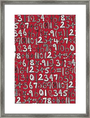 Math Doodle Red Framed Print by Sharon Turner