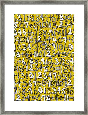 Math Doodle Yellow Framed Print by Sharon Turner