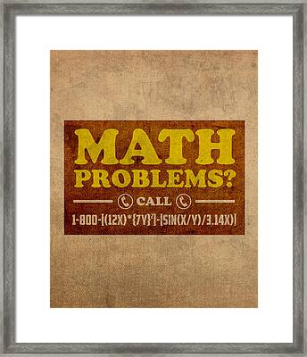 Math Problems Hotline Retro Humor Art Poster Framed Print by Design Turnpike