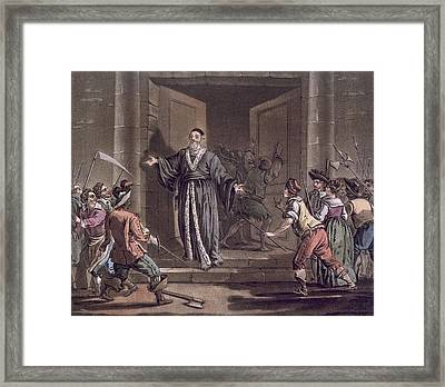 Mathieu Mole Harangued By The People Framed Print by Jacques Francois Joseph Swebach