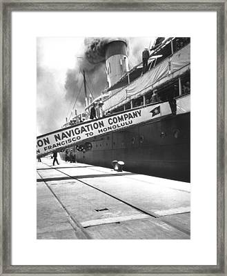 Matson Liner Departure Framed Print by Underwood Archives
