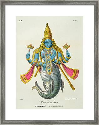 Matsyavatara Or Matsya, From Linde Framed Print by A. Geringer