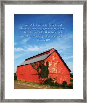 Matthew 6 26 Scripture Red Barn Framed Print by Denise Beverly