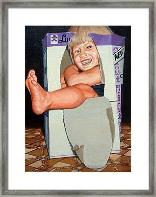 Matthew In A Box Framed Print by AnnaJo Vahle