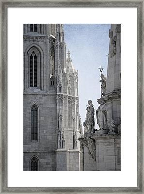 Matthias Church And Holy Trinity Column Framed Print by Joan Carroll