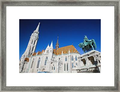 Matthias Church And Statue Of Stephen I In Budapest Framed Print