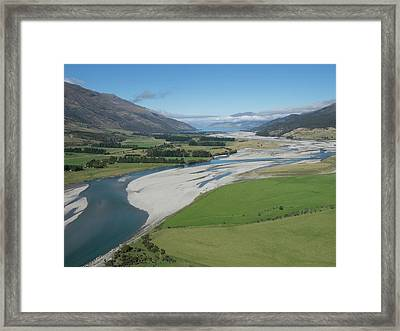 Matukituki River As It Flows From Mount Framed Print