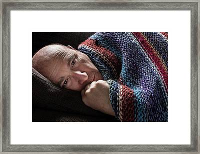 Mature Man In Blanket Framed Print