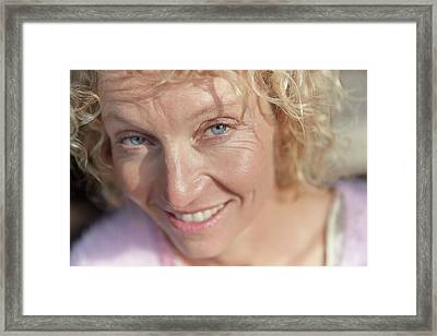 Mature Woman Smiling Framed Print