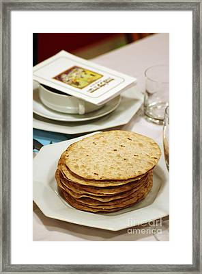 Matza And Haggada For Pesach Framed Print