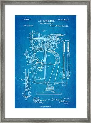 Matzeliger Lasting Machine Patent Art 1883 Blueprint Framed Print by Ian Monk