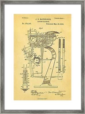 Matzeliger Lasting Machine Patent Art 1883 Framed Print by Ian Monk
