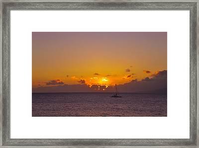 Maui Sailboat Sunset Framed Print