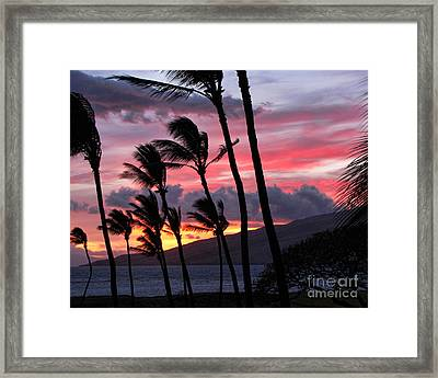 Framed Print featuring the photograph Maui Sunset by Peggy Hughes