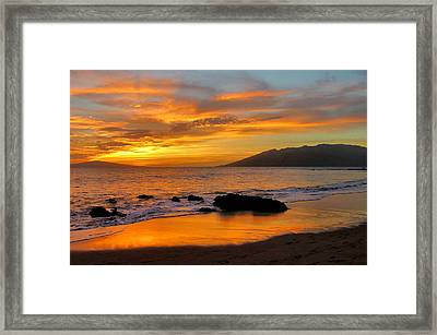 Maui Sunset Framed Print by Stephen  Vecchiotti