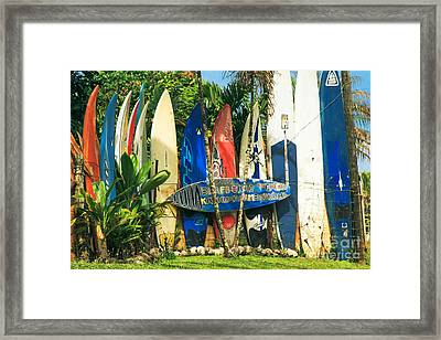 Maui Surfboard Fence - Peahi Hawaii Framed Print