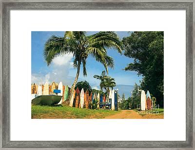 Maui Surfboard Fence - Peahi Framed Print by Sharon Mau
