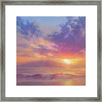 Maui To Molokai Hawaiian Sunset Beach And Ocean Impressionistic Landscape Framed Print by Karen Whitworth