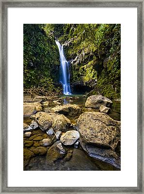 Maui Waterfall Framed Print by Adam Romanowicz