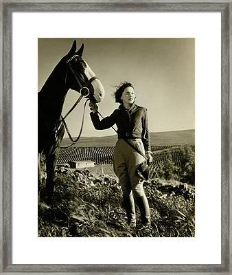 Maureen O'sullivan Standing On A Hill Framed Print
