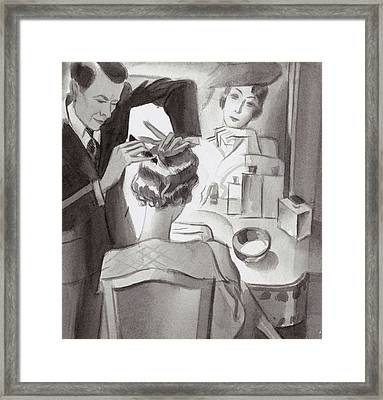 Maurice And Emile Styling Lady Mendl's Hair Framed Print by Herbert Libiszewski