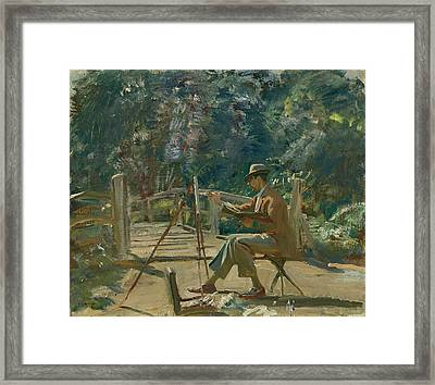 Maurice Codner Sketching By The Bridge At Wiston Framed Print